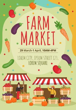 Farm market poster template with inscription vector illustration. Juicy fresh vegetables and red lettering flat style. Address information about event. Harvest concept