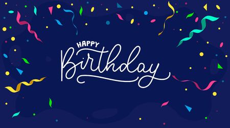 Happy birthday greeting card with ribbons and confetti vector illustration. Bright handwritten lettering flat style. Celebration festive party concept. Isolated on navy background