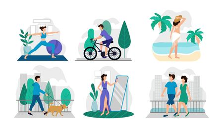 Composition of lifestyle situations with people set vector illustration. Yoga time riding bicycle walking with dog relaxing on island flat style. Life concept. Isolated on white background