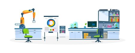 Laboratory with modern equipment and technology vector illustration. Office with all necessary instruments cartoon design. Science and education concept. Isolated on white background Ilustracja