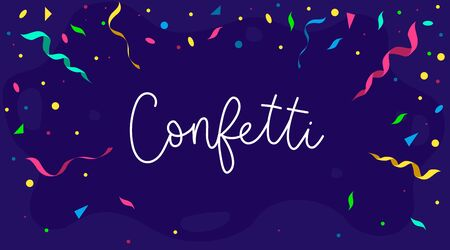 Colourful banner background with confetti vector illustration. Bright decor for festive event flat style. Handwritten white inscription. Happy birthday concept. Isolated on navy backdrop Illustration