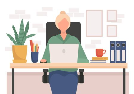 Elderly woman working from home on laptop vector illustration. Office with plant and pc flat style. Remote job and freelancer concept. Isolated on white background