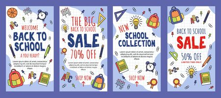 Back to school sale banner template collection vector illustration. Limited time only flat style. Discount on school supplies. Welcome to school. Education concept. Isolated on blue background