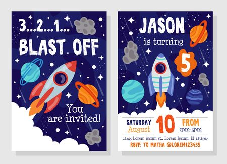 Bright cosmic space party invitation template vector illustration. Blast off flat style. Costume fun party. You invited. Happy birthday concept. Isolated on grey background Illustration