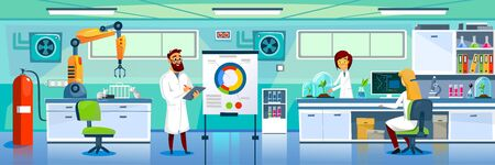 Modern laboratory and chemists at working place vector illustration. Professional lab worker in uniform cartoon design. Examine plant. Modern technology and science concept Illustration
