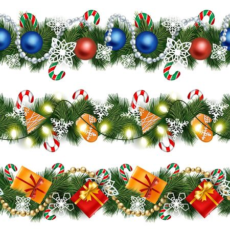 Realistic garlands on pine tree branches set vector illustration. Twigs decorated for Christmas and winter holidays. Conifer with lollipop sticks, presents and baubles, shiny lamps and bells