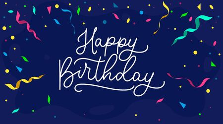 Happy birthday banner or greeting card with ribbons vector illustration. Handwritten lettering with confetti flat style. Festive party or event. Isolated on blue background 向量圖像