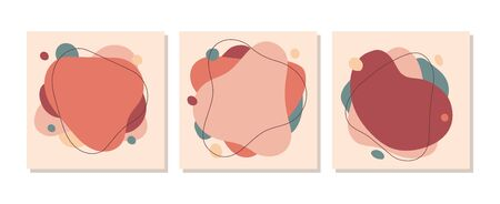 Abstract banners or cards templates with smooth lines vector illustration. Smudges in pastel colours flat style. Squares with dots. Modern design concept. Isolated on white background Illustration