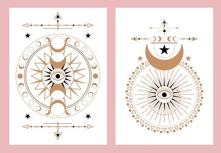 Set of abstract cards with unique design vector illustration. Vedic signs in golden and black colours flat style. Template for tattoo or clothes design. Isolated on pink background Illustration