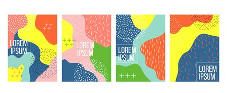 Abstract backgrounds set with black and white dots vector illustration. Squares with colourful design flat style. Copy space for text. Ad or promotion concept. Isolated on light backdrop Illustration