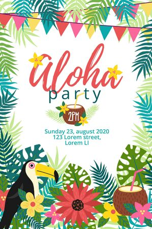 Aloha party tropical invitation with bird vector illustration. Card with animal and festive inscription flat style. Floral decor with garland. Joy and relax event. Celebration concept Illustration