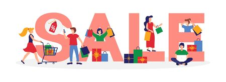 Sale inscription banner with shopping people vector illustration. Big red letters flat style. Price with discount. Colourful boxes with things. Isolated on white background