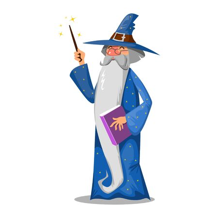Wizard with book and magic wand cartoon style vector illustration. Magician in hat and with long beard flat design. Fairyland and magical concept. Isolated on white background