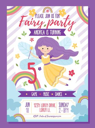 Fairy party invitation template with text vector illustration. Game music play flat style. Bright rainbow and decorations. Happy birthday concept. Isolated on violet background