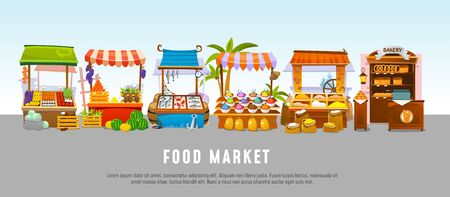 Food market local shops banner template flat style vector illustration. Stalls with products, seafood and bakery, fruits and vegetables, spices and grain. Shopping meal
