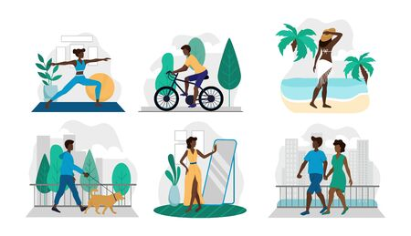 Set of different lifestyle situations in pics vector illustration. Afro american couple walking woman doing yoga guy riding bike flat style. Spare time concept. Isolated on white background  イラスト・ベクター素材