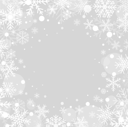 Beautiful fluffy snowflakes flying in air vector illustration. Winter season snowfall texture flat style. Happy holiday and christmas concept. Realistic grey background