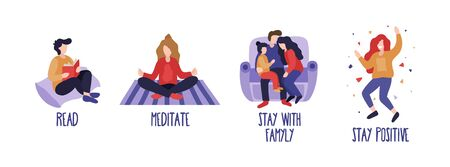 What to do on quarantine at home set with text vector illustration. Collection of advices for spare time flat style. Meditate read stay with family and stay positive. Isolated on white background Illustration