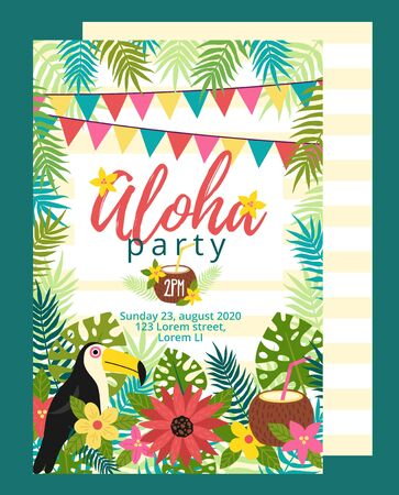 Bright fun aloha party invitation template vector illustration. Card with bird and festive inscription flat style. Floral decor with garland. Celebration concept. Isolated on green background