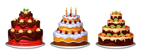 Three tier delicious homemade cakes with decor vector illustration. Chocolate and fruits cakes flat style. Tasty aromatic desserts with candles on plate. Isolated on white background