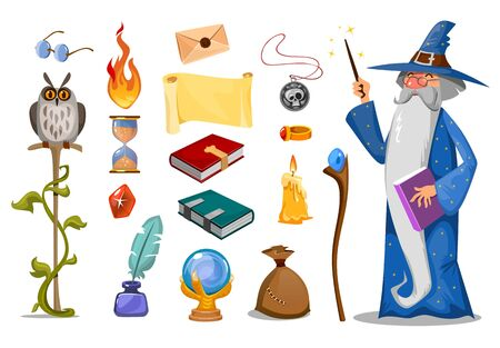Wizard with magic attributes on white background vector illustration. Collection of magical symbols. Owl hourglass ball candle bag book and tongues of flame. Sorcery concept