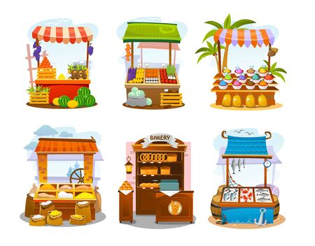 Market elements set, stalls of food sellers flat vector illustration. Local shops with organic production. Seafood and bakery, grain and spices, veggies and fruits