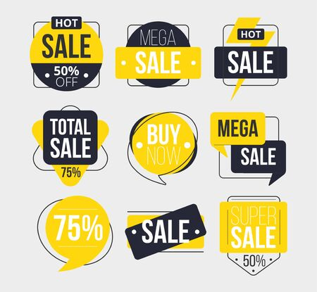 Abstract sale labels set with inscription vector illustration. Total super mega sale buy now flat style. Ad or promo. Shopping concept. Isolated on grey background