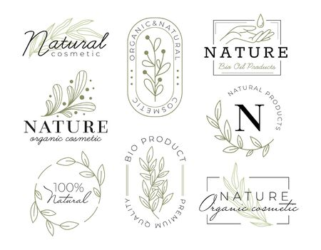 Elegant cosmetics labels with inscriptions vector illustration. Modern design for cosmetology products flat style. Pastel colour with texts. Isolated on white background Illustration
