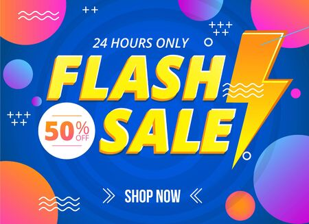 Bright flash sale banner template with sign vector illustration. 24 hours only discount flat style. Shop now. Colourful decoration with circles and waves. Shopping concept