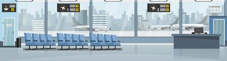 Empty airport with airplanes and terminal vector illustration. Blue seats for passengers flat style. Departure and arrive. Travel abroad and journey concept