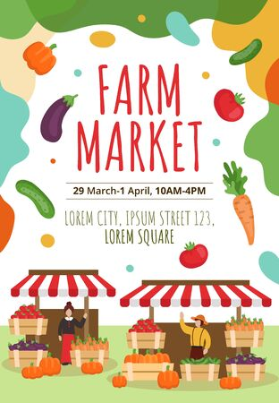 Farm market flyer or poster template with text vector illustration. Street event flat style. Colourful cucumber tomato carrot and pumpkin. Summer harvest concept