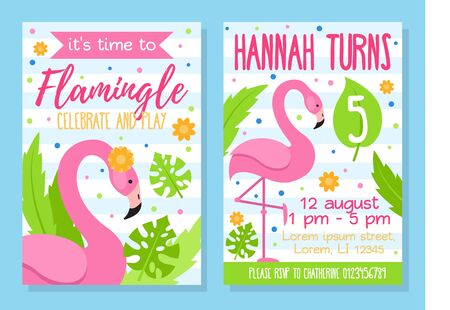 Time to flamingle celebrate and play invitation template vector illustration. Kid turns five flat style. Address information for party. Happy bday concept. Isolated on blue background