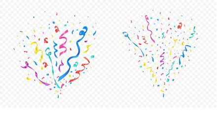 Confetti explosion set on transparent background vector illustration. Celebration of holiday or birthday. Festive ribbons multicolor crackers. Flying colored papers 向量圖像