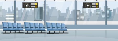 Empty airport with blue seats and windows vector illustration. Building for airplanes departure and arrive flat style. Display with numbers. Travel and journey concept