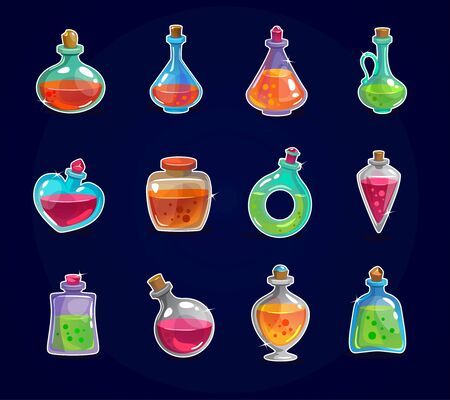 Magic bottles set with elixir on dark background vector illustration. Collection of phials of different shapes with magical potions. Isolated on deep blue backdrop
