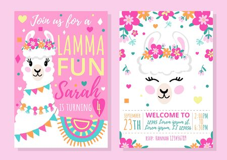 Llama party invitation template with colourful design vector illustration. Bright decorations for event flat style. Happy birthday celebration concept. Isolated on pink background Illustration