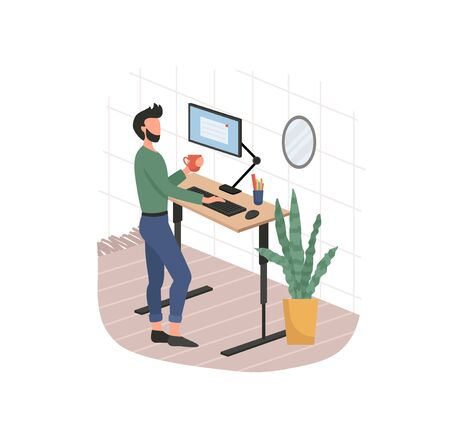 Man and remote working from home on computer vector illustration. Person drinking coffee and using pc flat style. Plant and mirror on wall. Freelancer concept. Isolated on white background
