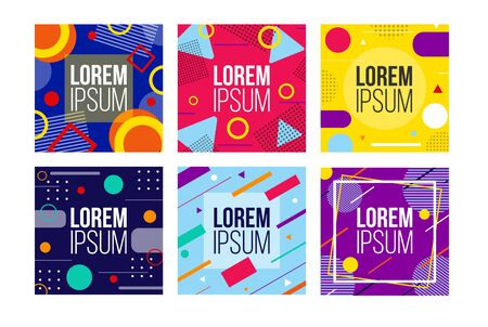 Abstract bright colourful banners set in square vector illustration. Geometrical figures in different colours flat style. Ad or promo concept. Copy space for text. Isolated on white background