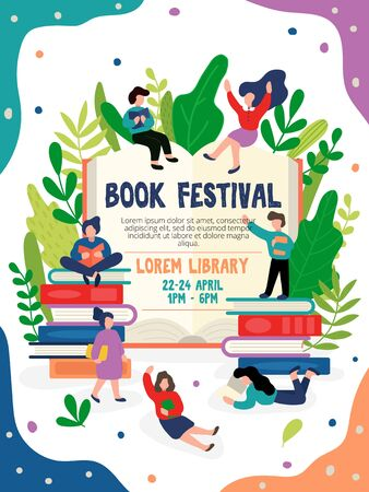 Book festival invitation or poster with address vector illustration. Invite for all wishing flat style. People around big book and greenery. Education and fun event concept