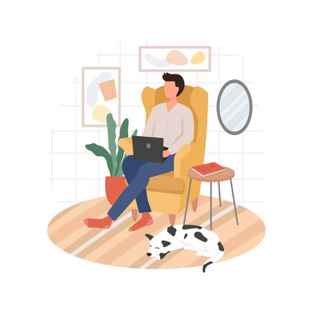 Man working remote from home sitting on chair vector illustration. Person drinking coffee with laptop flat style. Freelance concept. Isolated on white background