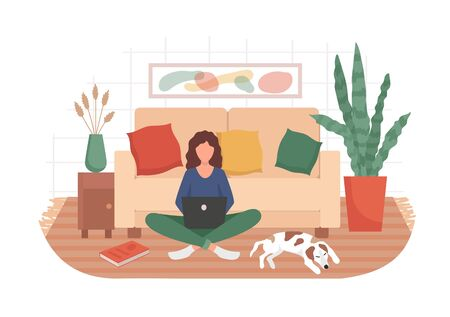 Woman and remote working in cozy living room vector illustration. Adult with laptop sitting on carpet near pet flat style. Job from any place concept. Isolated on white background