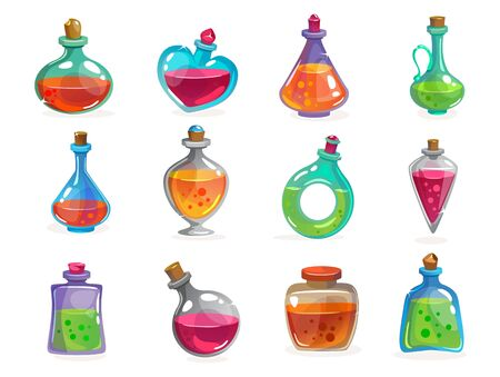 Magic bottles with potion set on white background vector illustration. Collection of containers with magical elixir. Jars with colourful liquid for transformations