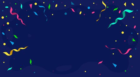 Banner background with confetti and ribbons vector illustration. Happy birthday or festive event template flat style. Colourful decor. Copy space. Isolated on blue backdrop Illustration