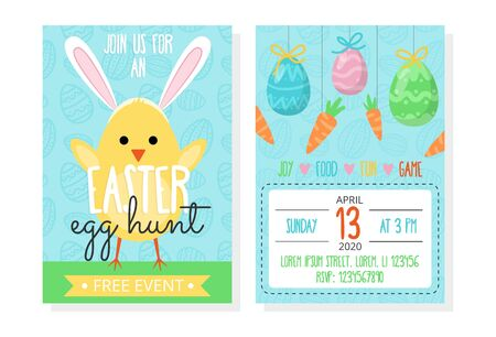 Easter egg hunt event invitation template vector illustration. Spring holiday concept. Address information flat style. Yellow chicken on grass. Isolated on white background Illustration