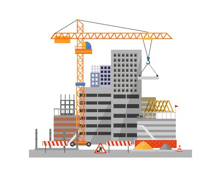 City construction process on white background vector illustration. Building object with crane stacking concrete slab cartoon flat style design. Construction work sign and building materials