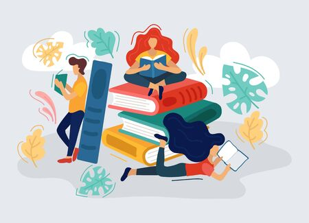 People reading and enjoying interesting books vector illustration. Stack of books with colourful covers flat style. Education and fiction story concept. Isolated on blue background Illustration