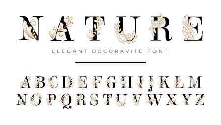 Elegant font with floral decoration on letters vector illustration. Nature inscription with blooming flowers flat style. Alphabet from a to z. Isolated on white background Illustration