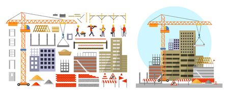 Construction elements and building process vector illustration. Crane with concrete slab window block doorway bricks barrier signs and builders flat cartoon style design. Isolated on white