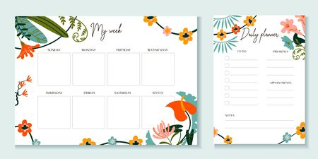 Weekly and daily planner template with flowers vector illustration. Notebook or sticker with to do list, days and empty squares. Journal for effective work, organization and time management