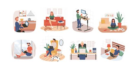 Set of remote working from home or any place vector illustration. Woman on sofa man in bed flat style. Freelance and convenient job concept. Isolated on white background